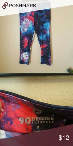 90 degree LOVE pants capris  medium These workout pants are by 90 degree by reflex. Size medium. 88% polyester 22% spandex. They say love on them and are super comfy and colorful. These are in great condition. 90 Degree  Pants Ankle & Cropped