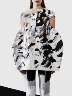 Sculptural Fashion - dress with circular silhouette and graphic painterly print - shape and pattern; 3D fashion // Satu Maaranen