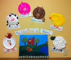 Preschool: ...had a farm. The kids each made a farm animal: rooster, cow, pig, horse, duck, sheep. Hung around a hand painted farm scene. Farm Wall.