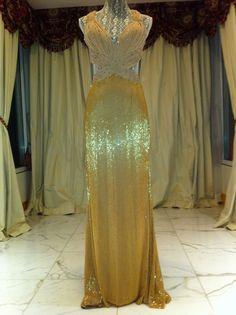 UMMMM WHOAA. CAN MY WEDDING DRESS BE GOLD?????? $18 000 Gorgeous Dolce Gabbana Swarovski Beaded Evening Wedding Gold Gown Dress | eBay