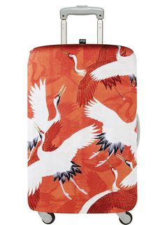 HR LOQI MUSEUM – Woman's Haori with White & Red Cranes Luggage Cover