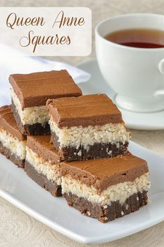 Queen Anne Squares imagine a brownie base, moist sweet coconut filling all topped with a decadent chocolate buttercream frosting.