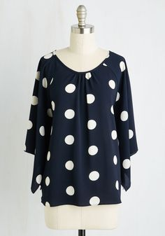 Take It To the Next Revel Top. Youre always one to find reasons to celebrate, and todays carousal is because of this navy blue blouse! #blue #modcloth