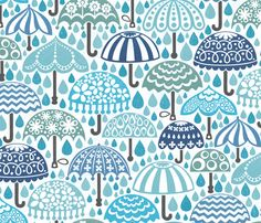 Vintage Brollies in Downpour fabric by christinewitte on Spoonflower - custom fabric 17.50/yard umbrella fabric