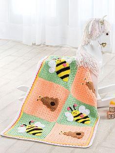 Love the bees - Crochet - Bumblebee Blanket - #EC01155 - epattern central