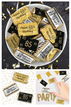 Black And Gold 85th Birthday Party Favors Mini Candy Bar Stickers