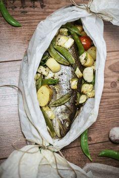 Saibling in Pergament mit Gemüse, Fisch, Fisch Rezept, Gemüse, gesund