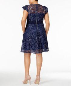 Rachel Rachel Roy Trendy Plus Size Lace Fit & Flare Dress - Blue 16W