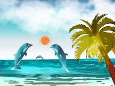 Dolphins playing ball by David Damour