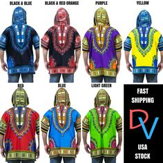 Feel cultural in this Vibrant African Print Dashiki Shirt Dress. Features an all classic dashiki components with a beautiful African print throughout and func African Men Fashion, Mens Fashion, Dashiki Shirt, Orange And Purple, Menswear, Plus Size, Unisex, Trending Outfits, How To Wear