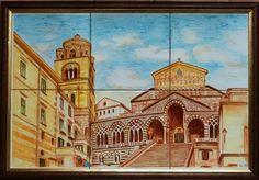 Cathedral Amalfi han painted on ceramics