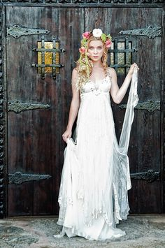 """bride2be:  """" beautiful wedding dress by bliss bride for a """"tangled"""" inspired wedding shoot on weddingchicks. and that pose looks like an old italian paiting  """""""