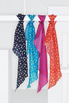 Polka dot silk scarves