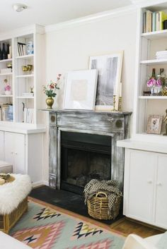 We love the rustic fireplace look!