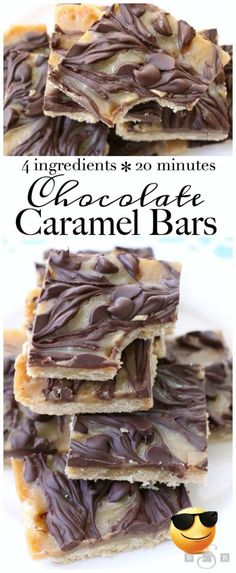 Chocolate Caramel Bars made with just 4 simple ingredients! Easy buttery crust topped with a quick caramel then swirled with melted chocolate.Best #caramel bars ever! #Dessert from Butter With A Side of Bread ...ils and methods you comply when cooking so prepare well and happy cooking I am always looking for easy and rich dessert recipes to try on my family ...in the flour mixture then the chocolate chips and nuts5 Scoop slightly rounded tablespoons of batter and place 1 12 inches apart onto… Mini Desserts, Easy Chocolate Desserts, Quick Easy Desserts, Chocolate Recipes, Gourmet Desserts, Baking Chocolate, Apple Desserts, Fall Desserts, New Dessert Recipe