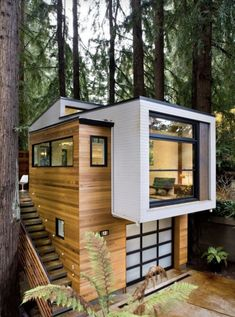Best 7 Extraordinary Tiny House Design Ideas To Inspire You The design of a functional small house is a matter of personalization and designing it becomes more aesthetically pleasing without reducing function. Container House Design, Small House Design, Modern House Design, Villa Design, Container Homes, Modern Tree House, Casas Containers, House Extensions, Small House Plans