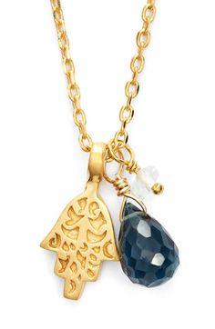 Women's Satya Jewelry Cluster Pendant Necklace - Blue Topaz- Hamsa