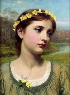 หญิงสวยที่มีพวงมาลัย โดยเซอร์ แฟรงค์ ดิกซีส  Young Woman With Garland By Sir Frank Dicksee