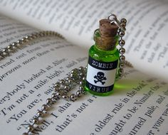 Zombie Virus 1ml Glass Vial Bottle Pendant Necklace Charm - 7 Colors Toxic Poison Zombies Potion. $7.99, via Etsy.