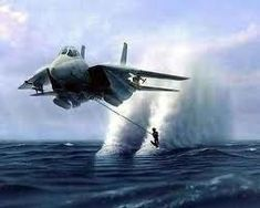 A jet plane pulling a skier on the water what a blast awesome.