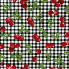 This darling cherry fabric with black gingham pattern would make great