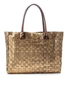 Gold Metallic Straw Shopper Bag via newlook.com
