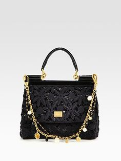 Dolce & Gabbana - Mini Miss Sicily Floral Lace & Sequins Satchel - Saks.com (Or.... I could pay off my car.)