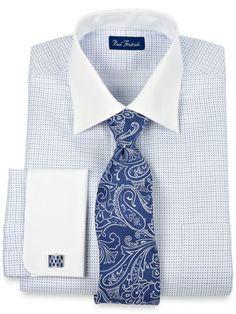 Deco Pattern White Collar & French Cuffs Dress Shirt from Paul Fredrick