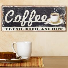Antique Yellow Metal Coffee Cup Wall Decor Restaurant Coffee Shops Signs