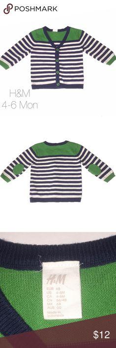 H&M Blue Green White Cardigan 4-6 months Unisex Very gently worn H&M Blue Green White Elbow Patch Cardigan 4-6 months Unisex H&M Shirts & Tops Sweaters