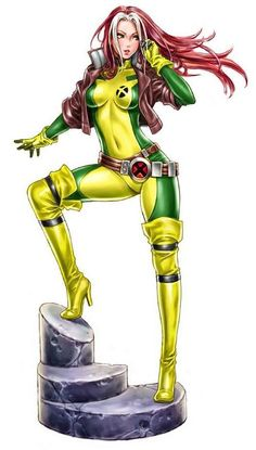 Rogue,  I just got a Rogue figurine from a guy at work... it totally made my day.  Guy: Anyone knows what this is?  Me: in thoughts - OMG! plz be mine...  Guy: No one knows who this is?  Me: Is that Rogue?  Guy: Yea, do you want it?  Me: Yes!   Guy: Sure, here.  Me: Thank you!! Thank you so much!  Guy walks away..  This was/is my favorite character in Xmen growing up. I am still trying to forgive Anna Paquin for her (i.e. terrible) portrayal of her.