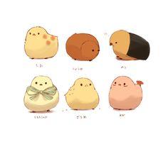 おせんべい Cute Food Drawings, Cute Kawaii Drawings, Cute Animal Drawings, Kawaii Art, Chicken Illustration, Cute Illustration, Character Illustration, Cute Sketches, Animal Graphic