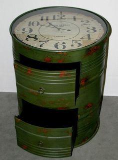 Industrial Drum Cabinet Clock