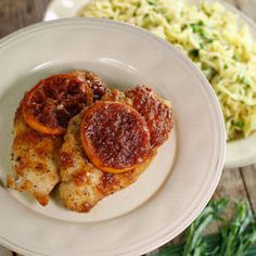 Chicken with orange, sweet vermouth and tarragon egg noodles