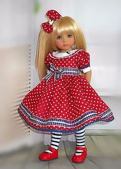 """Handmade dress hair bow and tights  fits Dianna Effner 13"""" little darling doll"""