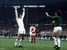 Football, 1972 FA Cup Final, Wembley Stadium, 6th May, 1972, Leeds United 1 v Arsenal 0, Leeds United+s Norman Hunter and goalkeeper David Harvey celebrate their FA Cup win at the final whistle