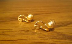Foil Effect Clip Earrings - Monet - Gold Tone Balls - Very Nice Vintage Condition - with Free Shipping