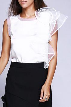 organza flounced blouse