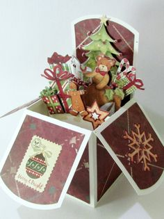 Pop Up Christmas Card In Box Handmade Vintage Style Keepsake One of A Kind by QueenBeeInspirations on Etsy