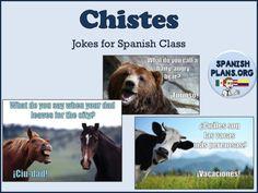 Chistes for Spanish Class Spanish Teacher, Spanish Classroom, Teaching Spanish, Classroom Ideas, Classroom Walls, Classroom Resources, Learning Resources, Teacher Resources, Spanish Basics