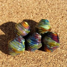 Handmade Ribbed Bicone Lampwork Silvered Glass by PomegranateGlass