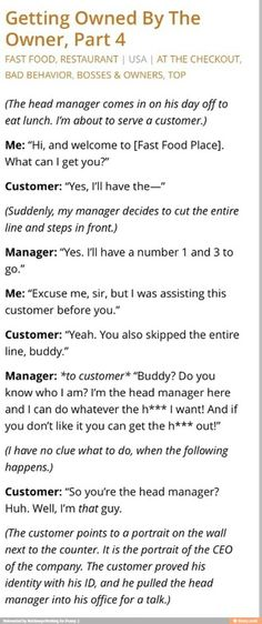 WHAT kind of head manager 1.) doesn't know their boss and 2.) does stuff like that?