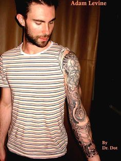 Adam Levine - showing off the finished sleeve