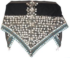 Mfengu woman's head scarf decorated with mother of pearl buttons and beadwork. Worn by married women, Eastern Cape, South Africa, mid- 1900's