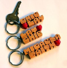 Love Heart Keychain ~ Cherry Wood Handmade to Order in the USA