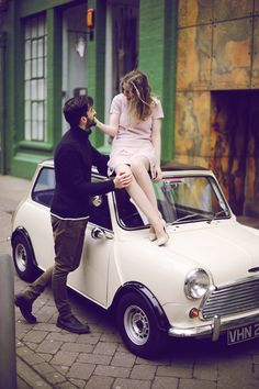 A inspired engagement shoot, shot on location at The Custard Factory in Birmingham. Photography by Ella Ormerod. Mini Cooper Classic, Classic Mini, Classic Cars, Picture Scavenger Hunts, Mini Morris, Automobile, 1960s Inspired, Lovers Photos, Mini S