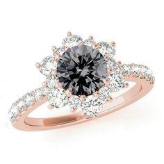 6.5mm Gray Moissanite & Diamond Flower Halo Engagement Ring 14k Rose Gold, Anniversary Rings for Women, Custom Rings for Women, Moissanite Jewelry, Wedding Gifts, Raven Fine Jewelers