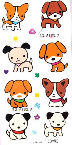 YiMei Waterproof temporary tattoos color animation cartoon lovely and cute dog for childens