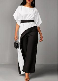Asymmetric Hem Half Sleeve Top and Black Pants   Rosewe.com - USD $37.57