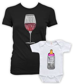Matching Mommy And Me Clothing Mother Daughter Matching Outfits Mother Son Shirts Need Wine And Need Milk Baby Bodysuit Infant DN-626-627 by ShirtCandy on Etsy https://www.etsy.com/ca/listing/275427792/matching-mommy-and-me-clothing-mother